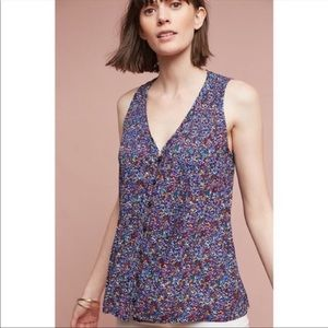 Anthropologie Maeve Lila pintucked tank top small